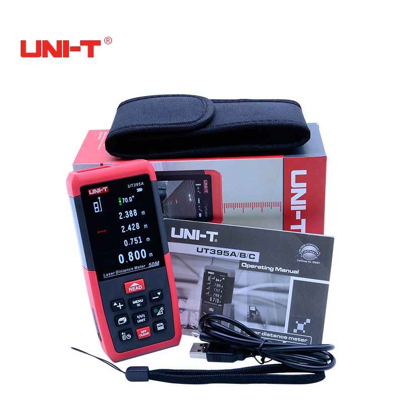 Professional Laser Distance Meters UNI-T UT395A 50M Laser Range finder Digital range finder Measure Area/volume Tool laser range finder 40m 60m 80m 100m digital laser distance meter tape area volume angle engineer measure construction tools