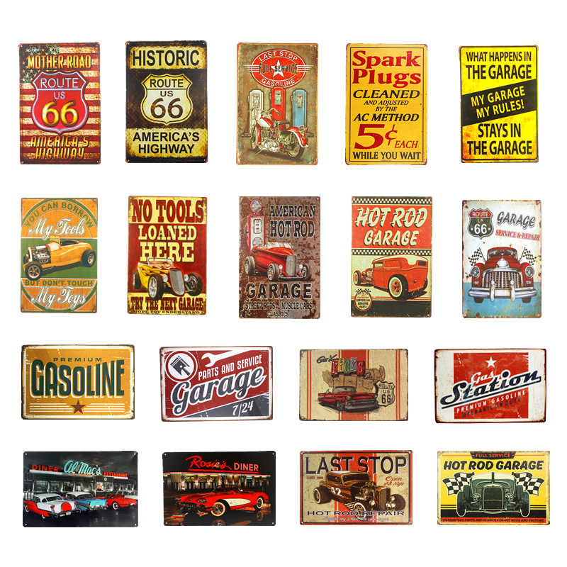 Route 66 Vintage Metal Tin Sign Poster for Coffee House Pub Bar Living Room Garage Plaque