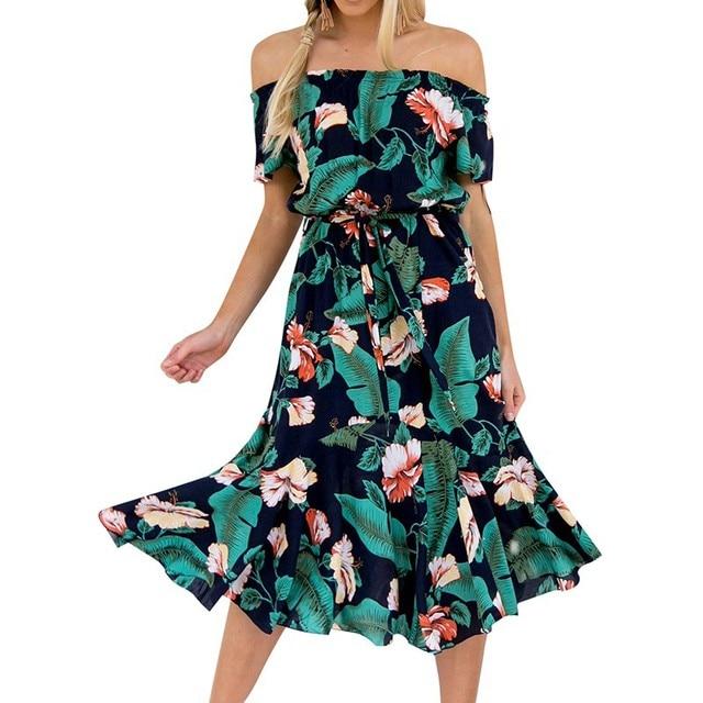 7a4f2b61ffb 2018 Moda Feminina Elegante Chiffon Verde Vestido Estampado Elegante Sexy  de Slash Neck Magro Praia vestido