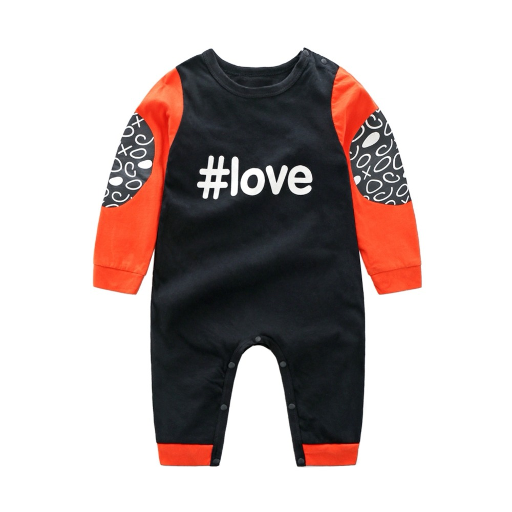 Children Baby Rompers Cotton Casual Letter Printed Stitching Long-Sleeved Clothing Boys and Girls цена 2017