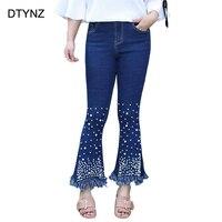 2018 Fashion Jeans Pants Women Plus Size Casual Slim Beading Tassel Gloria Denim Jeans Pant Good Stretch Blue