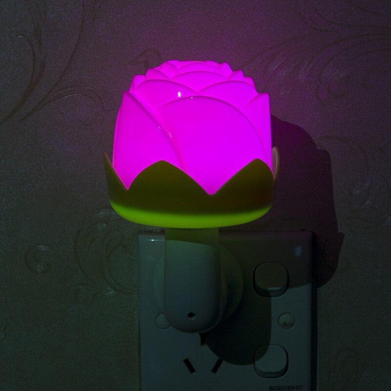 220v LED Rose flower type Light control night light baby bedrom Bedside lamp Home indoor decoration