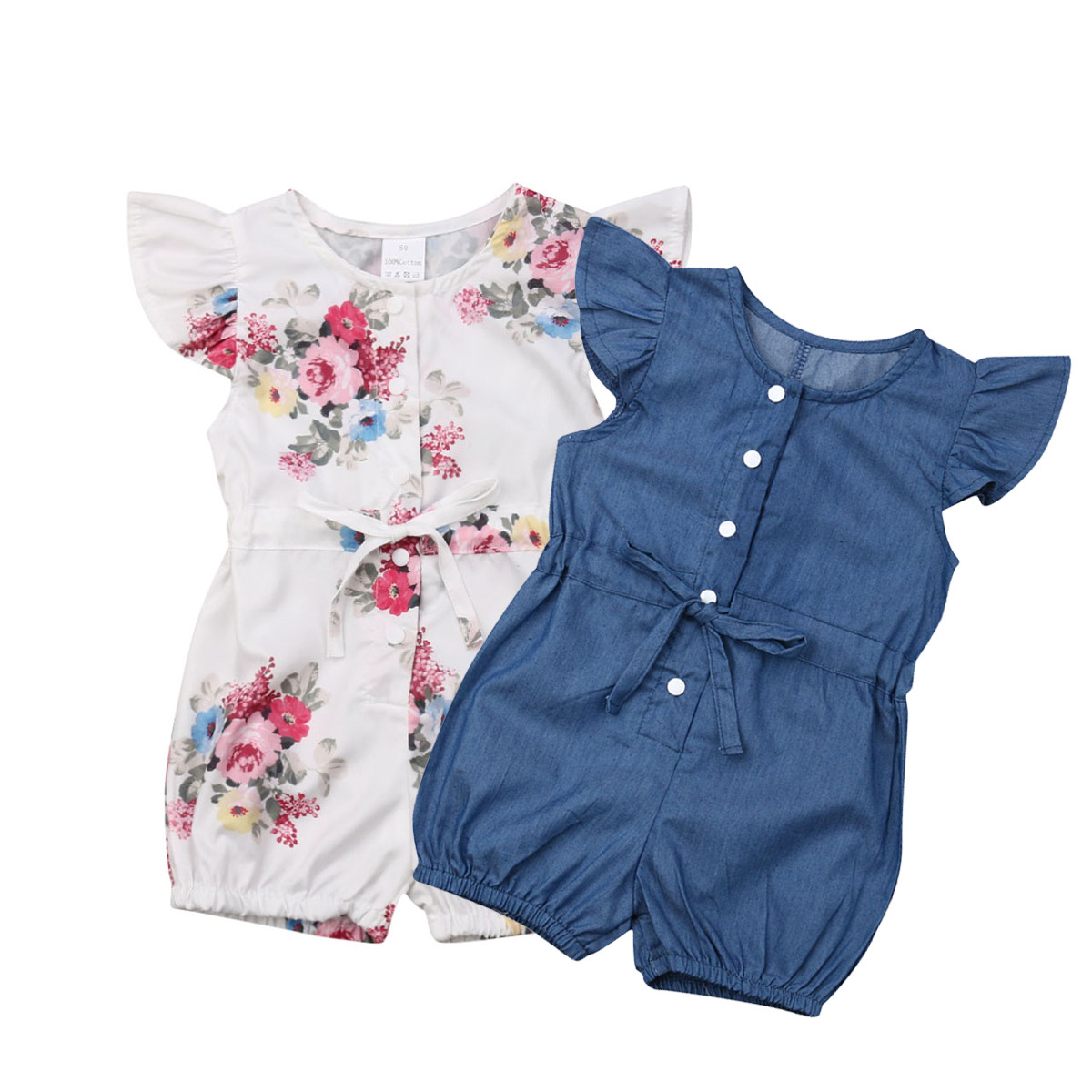 Pudcoco Baby Girl Kid Clothes Flying Sleeve Jumpsuit Flower/Denim Ruffle Cute   Romper   Outfit Set