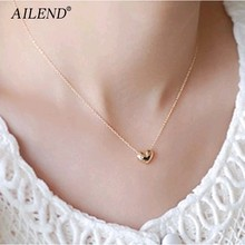 AILEND New design Simple Fashion jewelry women short accessories Elegant Lovely Gold Heart Shaped pendant necklace girl gift(China)