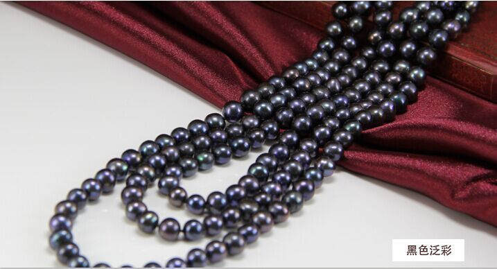 charming stunning tahitian AAA8-9mm black blue round pearl necklace 38inch925 silver