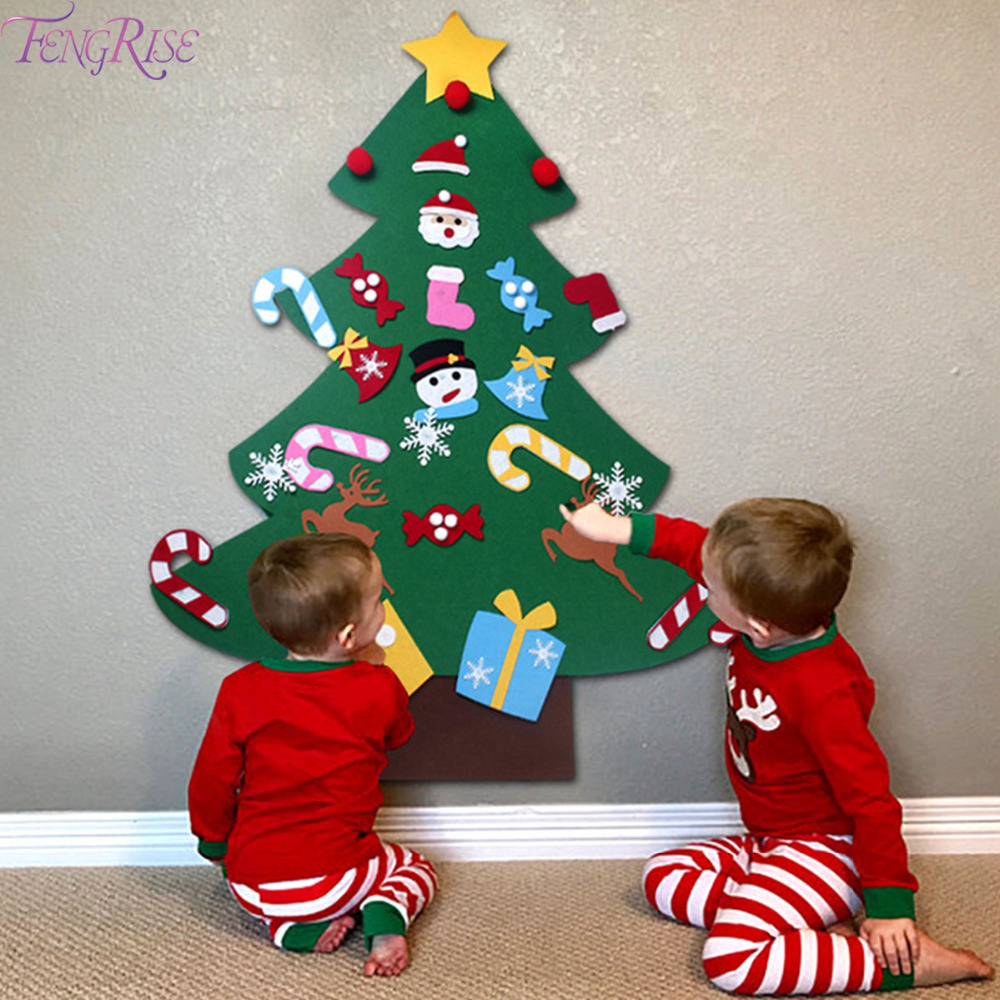 fengrise kids diy felt christmas tree decorations xmas door wall hanging ornaments home decor. Black Bedroom Furniture Sets. Home Design Ideas