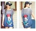 Nova moda de verão bonito dos desenhos animados Mickeye listrado impressão confortável tamanho grande solto Longo estilo manga morcego ocasional T-shirt tee topos