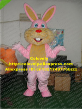 Smart Pink Easter Bunny Rabbit Mascot Costume Mascotte Lepus Jackrabbit Hare With Long Yellow Ears Red Nose No.966 Free Ship(China)