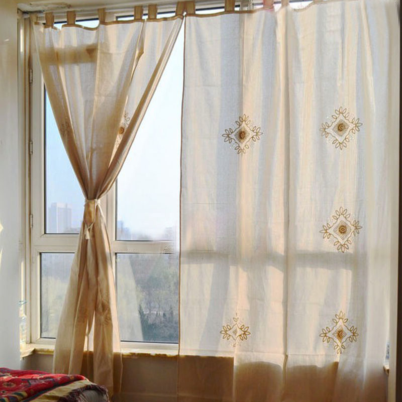 Single Panel New Pastoral Linen Blending Embroidered Living Room Curtain Vintage Crochet Hollow