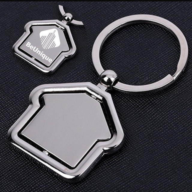 House Design Rotating Style Double Faced Logo Key Chain Metal Keyring Real Estate S Business Promotional
