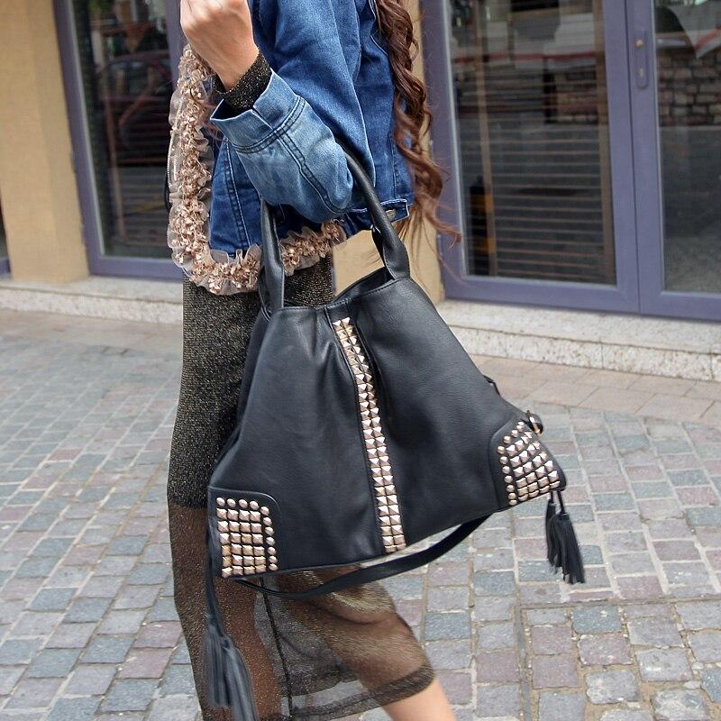 бесплатная доставка новинка персонализированные мода заклепки женская сумочка винтаж кисточкой одно плечо крест - мешков для трупов