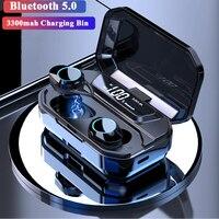 G02 TWS 5.0 Bluetooth Earphone Wireless Earphones IPX7 Waterproof Stereo Earphones 3300mAh LED Smart Power Bank