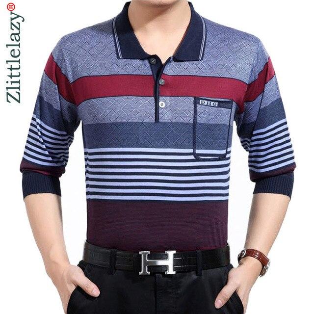 2018 marcas de moda listrado camisa pólo de manga longa homens camisa  masculina mens polos hombre 6b13362aca09c