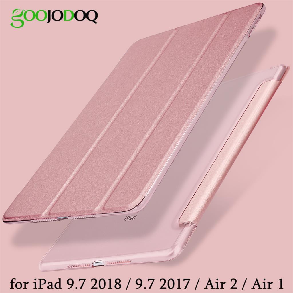Para iPad 2018 caso 9,7 de 2017 ultra Slim de cuero de la PU cubierta inteligente + PC duro Tri-soporte para iPad 2018 caso 9,7 A1822 a1893