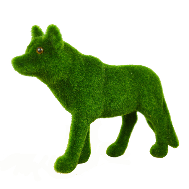 green home decorative for christmas grass turf small cute wolf toy table decorations artifical moss animals