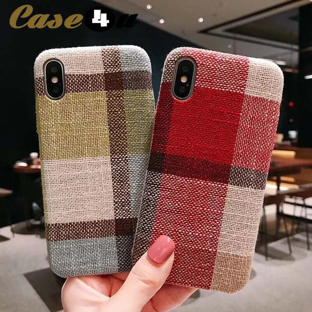 2a5f52996984 Fabric Cloth Lattice Plaid Soft Phone Cases for iPhone 7 8 6 6s Plus  Scottish Linen Cotton Cover for iPhone XS Max XR X 10 capa