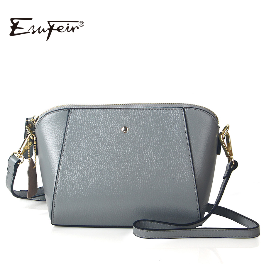 ESUFEIR Brand Embossed Genuine Leather Women Messenger Bag Fashion Solid Cow Lea