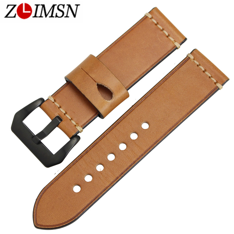 ZLIMSN Men Genuine Leather Watch Band Straps Replacement 22mm 24mm Watchband Black Oil Red 316L Stainless Steel Black pin Buckle high quality 20mm 22mm 24mm leather watch strap man watch straps black brown gray stainless steel buckle thick line watch band