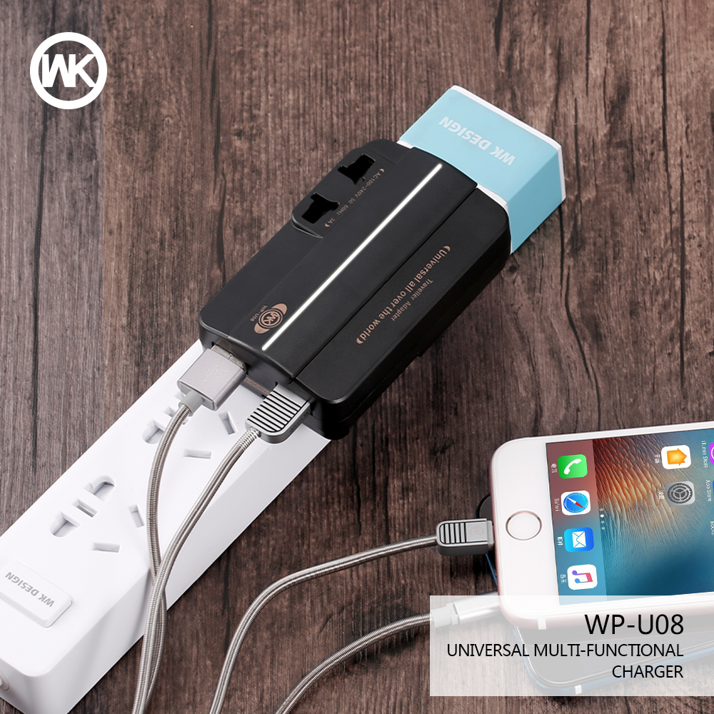 WK DESIGN Multifunctional Travel Charger US EU UK AU Plugs 2 Ports USB Charger With Universal Socket For Samsung Xiaomi iPhone