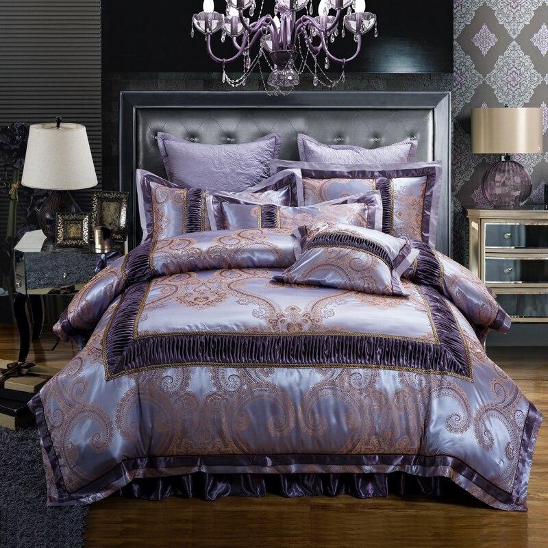 골든 레드 럭셔리 웨딩 침구 세트 킹 퀸 사이즈 코튼 얼룩 자카드 침대 세트 이불/이불 커버 두꺼운 침대 스커트 세트 베개-에서침구 세트부터 홈 & 가든 의  그룹 2