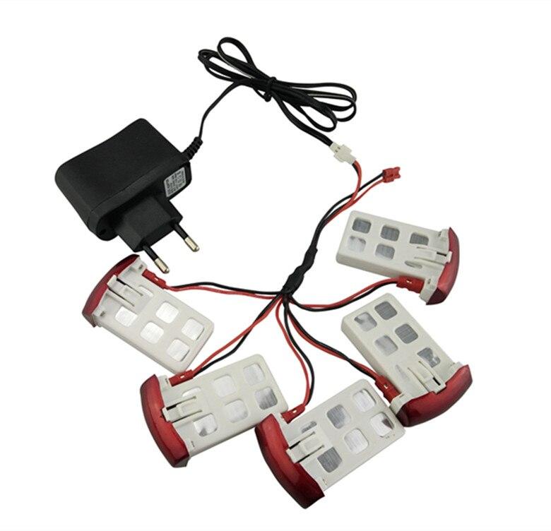 BLL 5 pcs 3.7 V batterie et chargeur câble ensembles pour Syma X5UC/X5UW RC quadrirotor pièces de rechange