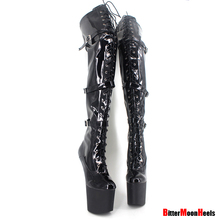 Fetish Heelless 8″ No Heel Hoof Sole Thigh high over-the-knee Boot PU LEATHER 36-46