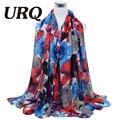 2016 Primavera bufanda de Invierno moda mujer largo Echarpe impresa Flor hijab bufandas de Las Señoras estolas de los mantones calientes V8A18442