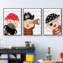 Модные пиратские Детские парусиновые принты для маленьких мальчиков