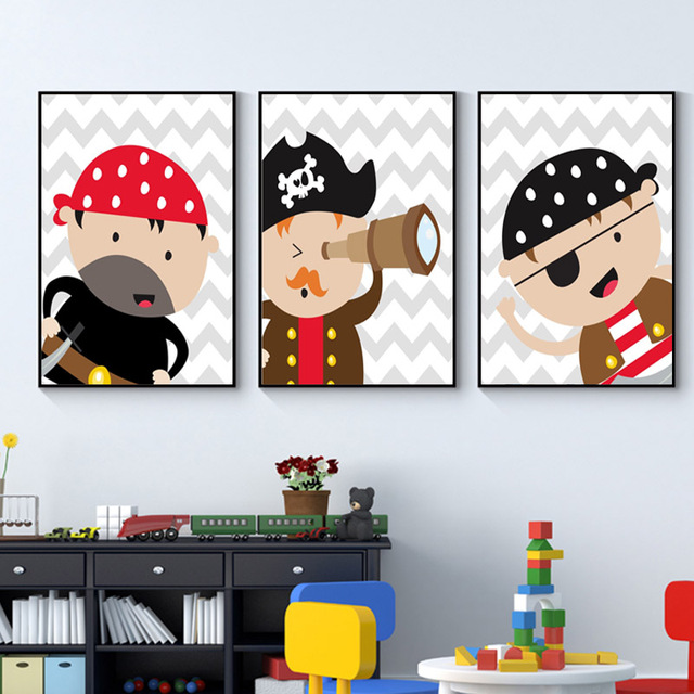 Fashion Pirate Nursery Canvas Prints Baby Boy Wall Art Suits Grey Posters And Red Painting Pictures Bedroom Home Decor