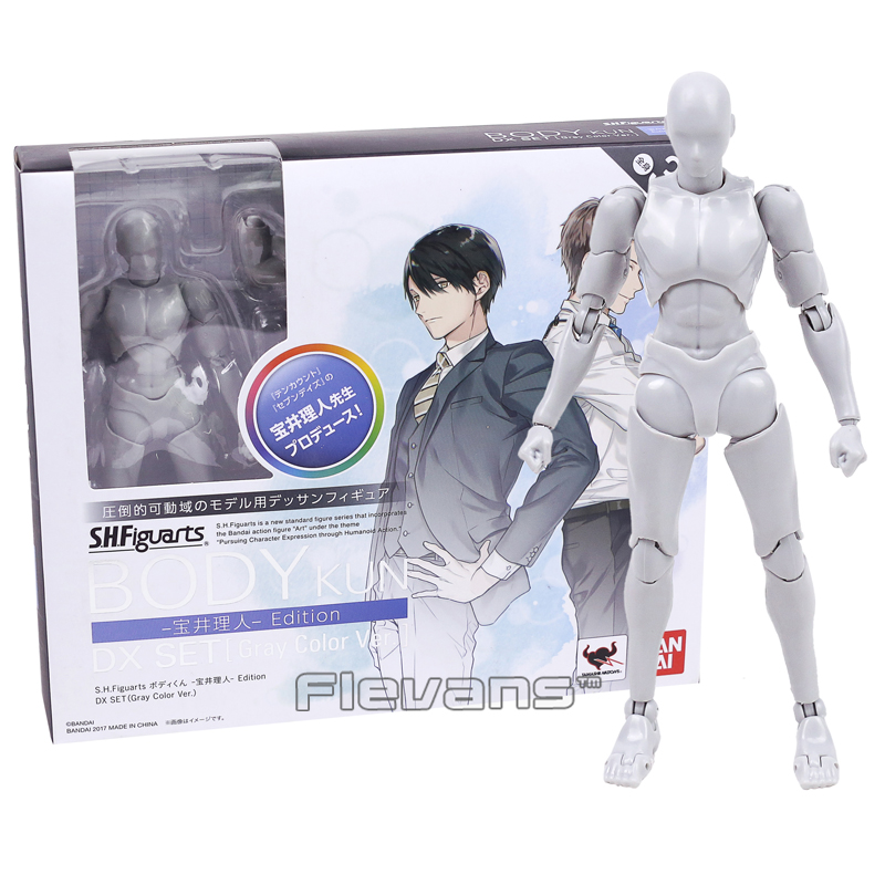 SHFiguarts BODY KUN / BODY CHAN DX SET Gray Color Ver. PVC Action Figure Collectible Model Toy 14cm original high quality body kun takarai rihito body chan mange drawing figure dx bjd gray color pvc action collectible model toy
