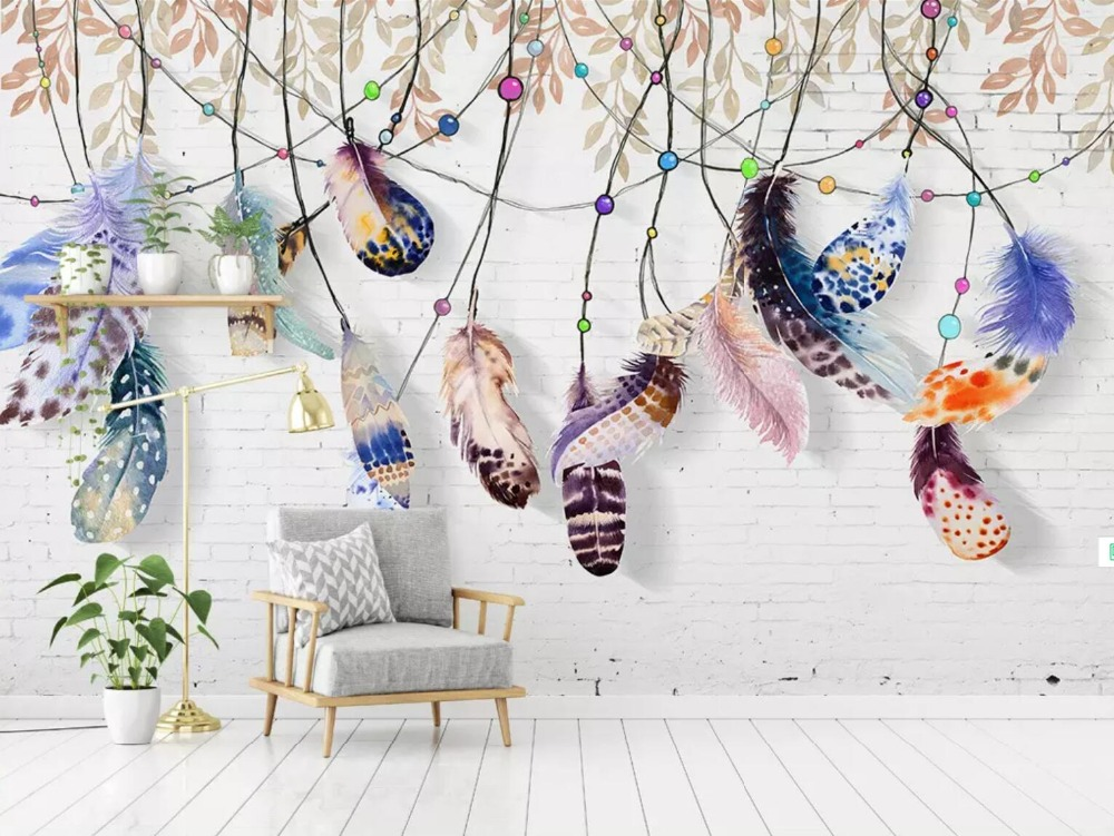 [Self-Adhesive] 3D Beautiful Colored Feathers 1 Wall Paper Mural Wall Print Decal Wall Murals