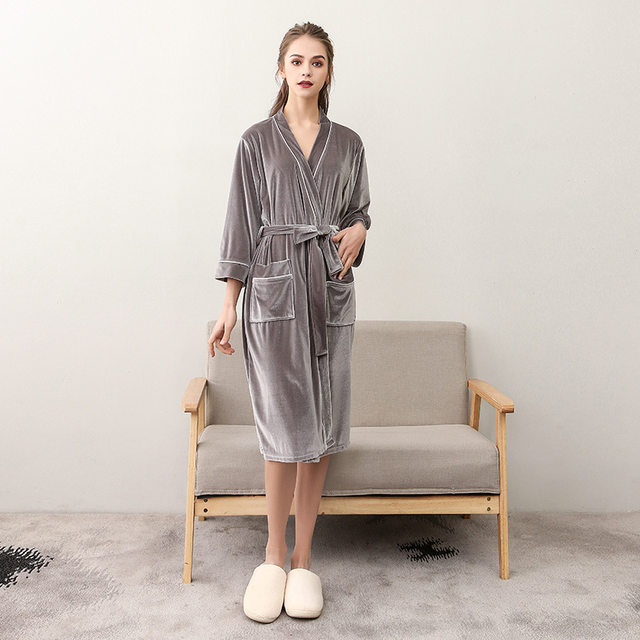 8631f2bb17 Online Shop Navy Blue Ladies Summer dressing gown housecoat Fleece ...