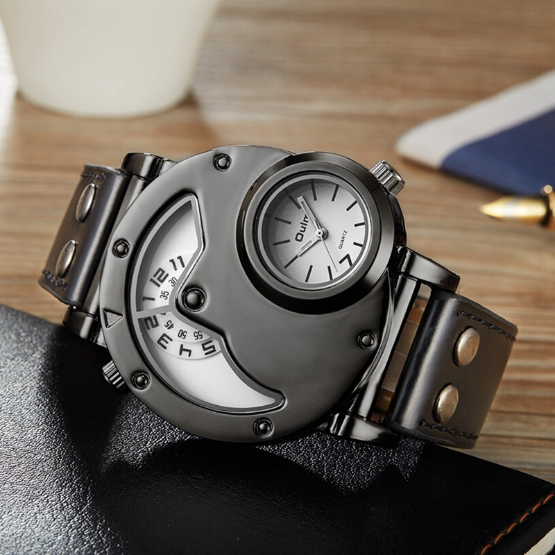 OULM Brand Luxury Brand Watches Men Army Military Dual Time Movement Mens Leather Starp Quartz Wrist Watch relogio masculino oulm 3548 authentic mens 5 5cm large dial watches leather band dual time japan movt quartz watch relogio masculino grande marca