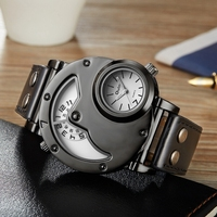 OULM Brand Luxury Brand Watches Men Army Military Dual Time Movement Mens Leather Starp Quartz Wrist