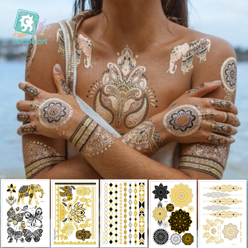 6Pcs Indian Arabic Designs Flash Metallic Waterproof Temporary Tattoos Gold Silver TatooPaste Fake Tatoo Sticker Girls On Body