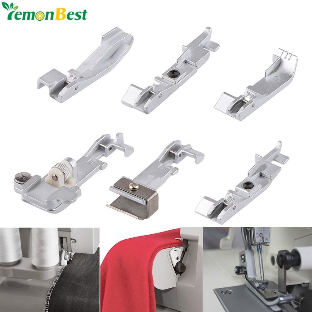 6Pcs Singer Overlock Sewing Machines Foots Serger Presser Foot Set For 14CG754 14SH654 14U555 14U557 Consew 14TU 14hd854 14sh754