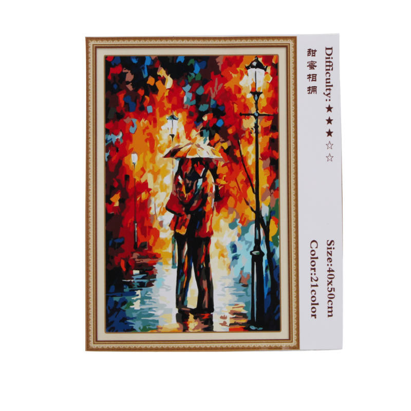 Digital diy oil painting by numbers rain umbrella girl for How to make canvas painting