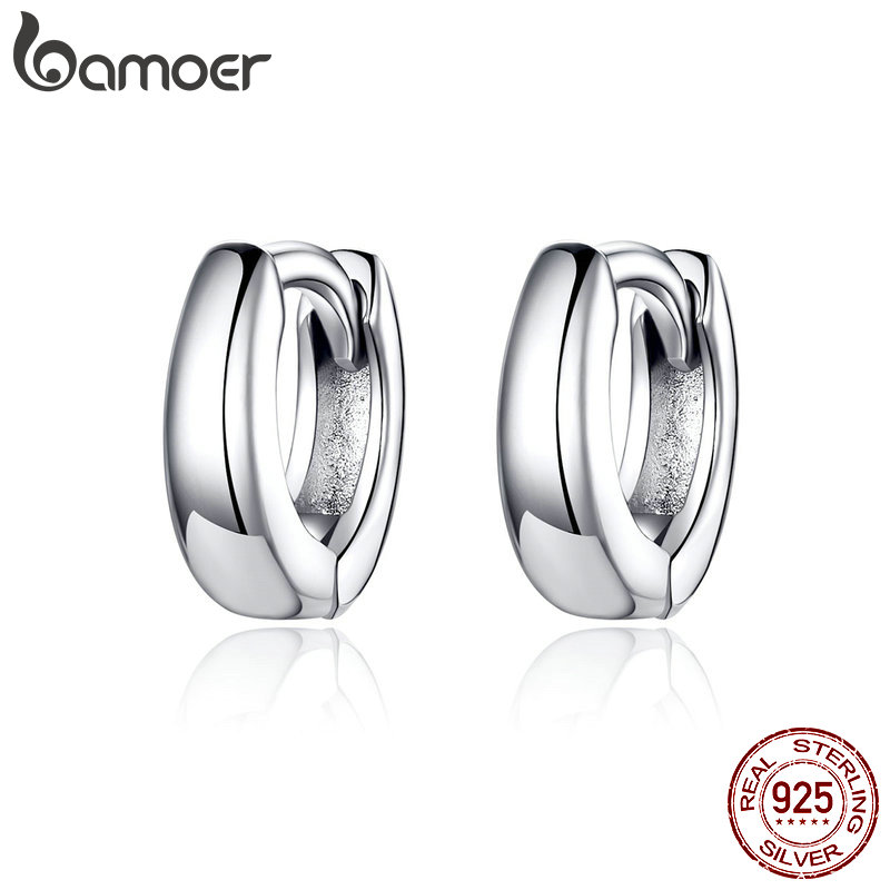 BAMOER Hoop-Earrings Circle Fine-Jewelry 925-Sterling-Silver Korean-Style Women For And