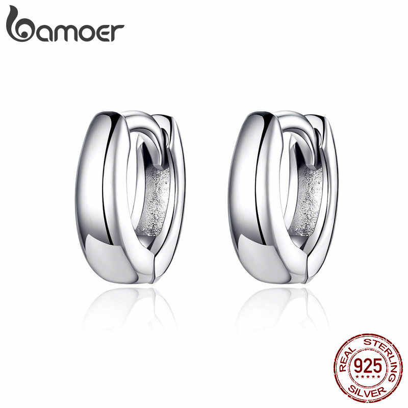 BAMOER 2019 New 925 Sterling Silver Polishing Tiny Circle Hoop Earrings for Women and Men Korean Style Fine Jewelry SCE552