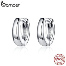 BAMOER 2019 New 925 Sterling Silver Polishing Tiny Circle Ho