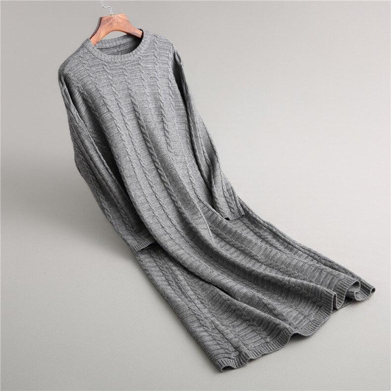 2019 mode tenue décontractée femmes hiver surdimensionné pull à manches longues col rond solide femme tricoté épais robe pull Vestidos - 3