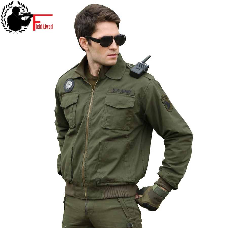Flight Jacket Mens Military Pilot Uniform Us Army Fatigue Winter Soldier Urban 2021 Tactical Clothing Outwear Male Green Black