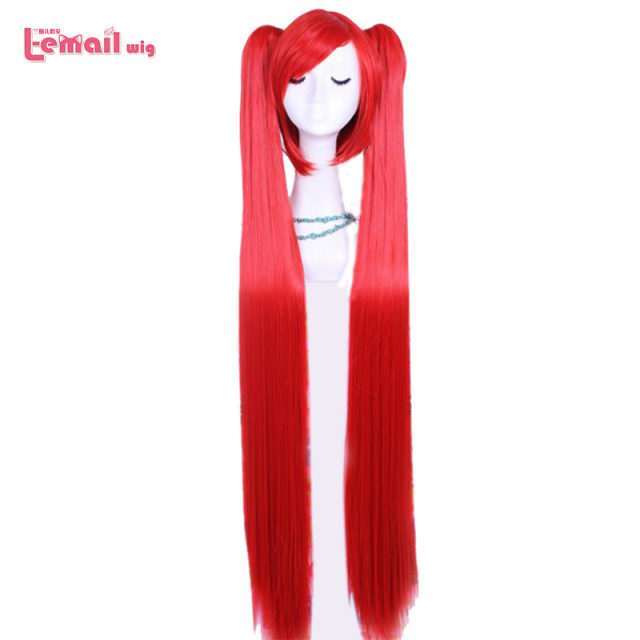 L-email wig Heat Resistant 100CM Supper Long Red VOCALOID Hatsune Miku 2 Clip On Ponytails Cosplay Wig