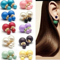 12pcs Celebrity Double Pearl Beads Plug Earrings Ear Studs Pearl Stud Earring16mm 8mm Simulated Double Sided