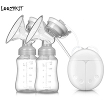Loozykit двойной Электрический молокоотсос мощный соска всасывания USB Электрический молокоотсос с бутылка для детского молока холодного Тепла Pad соски