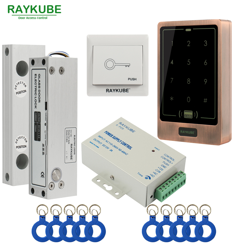 RAYKUBE Glass Door Access Control Kit Electric Bolt Lock + Touch Metal FRID Reader For Office Glass Door glass door lock system good quality electric bolt lock for access control system 12v electric lock glass door lock