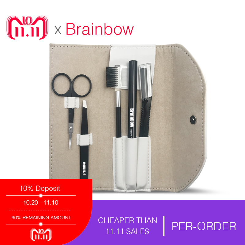 все цены на Brainbow 5pcs/bag Makeup Tool Kit Eyebrow Pen Eyebrow Tweezer Trimmer Razor Makeup Brushes Makeup Scissors Eyes Beauty Essential