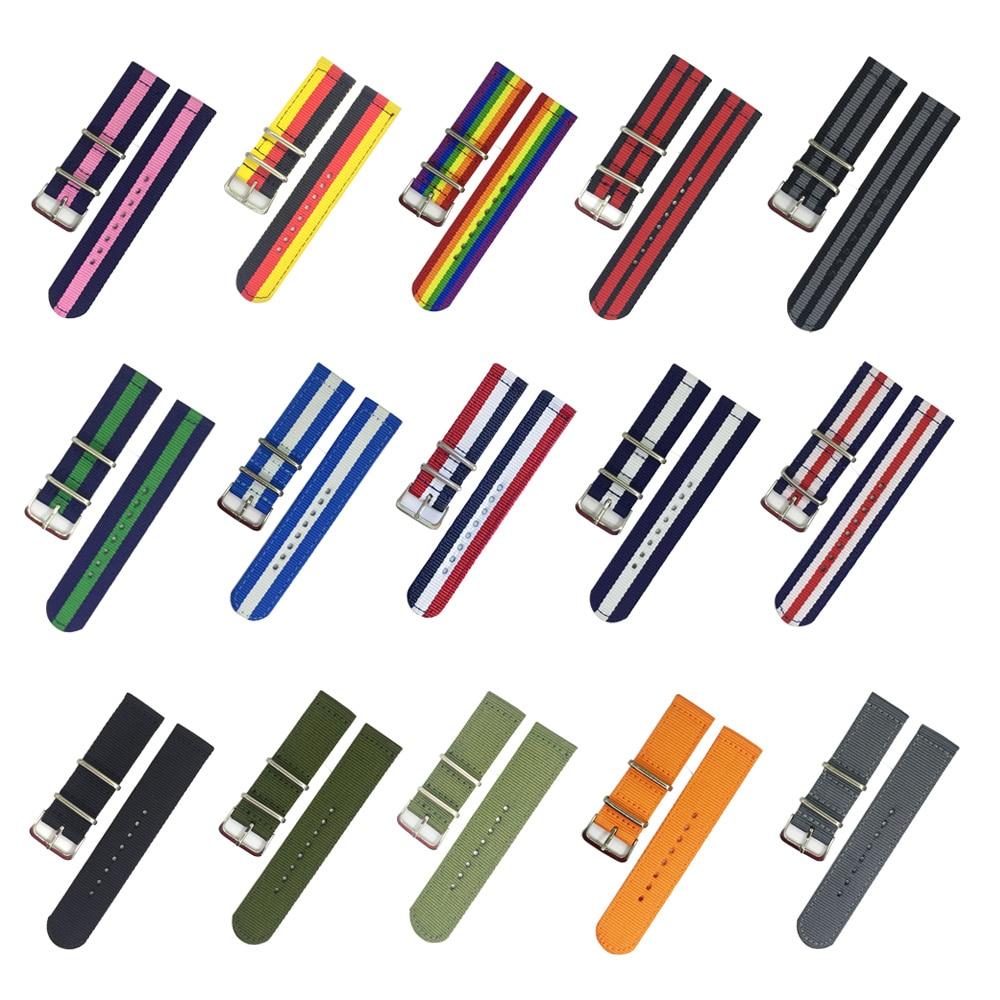 18mm 20mm 22mm 24mm Nato Strap Watch Band Men Silver Buckle Canvas DW Belts Watch Strap Zulu Watchband