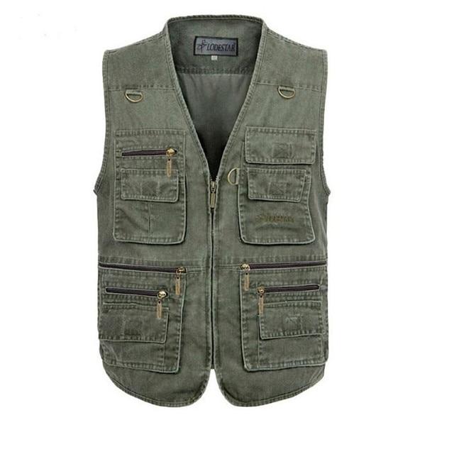 2016 New Autumn Tactical Sleeveless Denim Jacket Vest Men's Casual Multi-pockets Photography Cameraman Vest Size XL-5XL