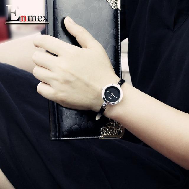 2016 festival Memorial Day gift Enmex women creative slim strap wristwatch  brief design elegance fashion quartz lady watches